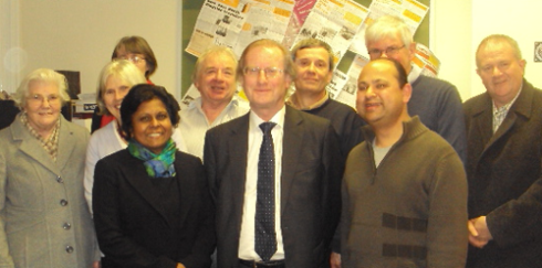 Sushila Abraham with other  Lib Dem team members