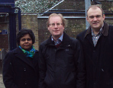 Sushila Abraham with Cllr Bob Steed and Edward Davey MP